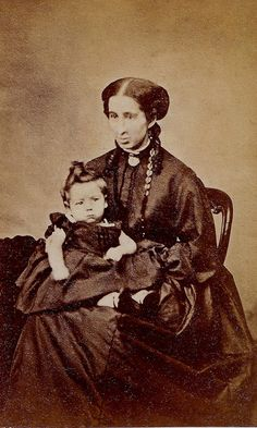 Mother and Child in Mourning, English Albumen Carte de Visite, Circa 1868 |