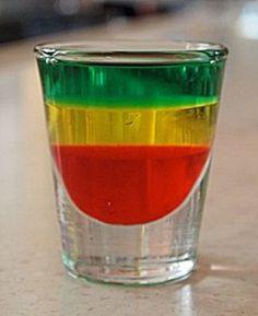 Bob Marley (.5 oz Creme De Menthe    .5 oz Banana Schnapps    .5 oz Grenadine)
