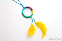 Summer camp inspired crafts for kids:  Dream catcher necklace
