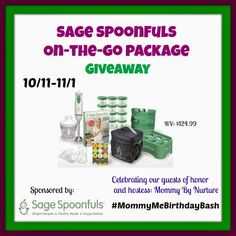 Enter Mixed Bag Mama: Sage Spoonfuls Giveaway! FANTASTIC GIVEAWAY! Enter here http://mixedbagmama2013.blogspot.com/2014/10/sage-spoonfuls-giveaway.html For Your Chance To Win! You Know That I DEFINITELY ENTERED!!!! Thanks, Michele :)