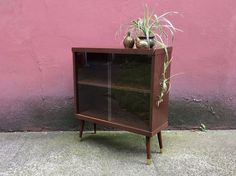 vintage mid century modern bookcase with sliding glass doors retro cabinet vintage furniture