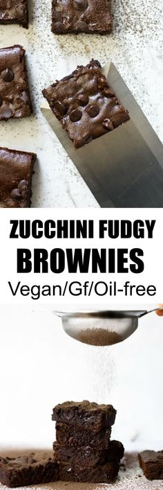 Oil-Free Zucchini Fudgy Brownies Recipe - Vegan, Gluten Free and Oil Free, Maple-Syrup-Sweetened recipe!