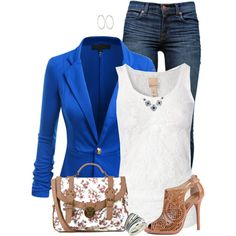 Bright Blue Blazer by daiscat on Polyvore featuring Jeane Blush, J Brand, Sole Society, Dorothy Perkins and Sidney Garber