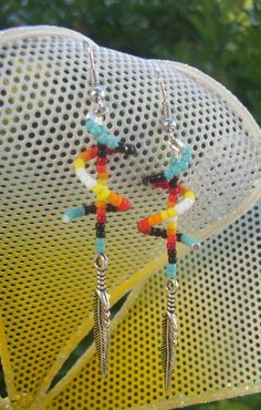 Pair of Beaded Spiral Earrings with Silver Feather , Turquoise , Fire Colors , Native American Beadwork , American Indian Jewelry Seed Bead Jewelry, Seed Bead Earrings, Beaded Earrings, Beaded Jewelry, Handmade Jewelry, Seed Beads, Native American Earrings, Native American Beadwork, Beadwork Designs