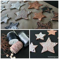 Stjerner i selvhærdende ler med bladmetal i kobber og sølv. Køb hobbymaterialer i Kreahobshop.dk