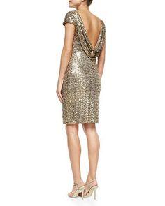 Badgley Mischka Cowl-Back Sequined Cocktail Dress