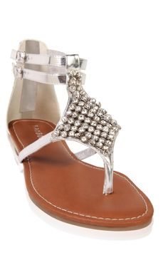 Deb Shops two strap #gladiator #sandals with stones