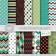 CONTEMPORARY Digital Paper Downloads / Modern Printable