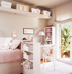 Beige and pink bedroom: love the white chair