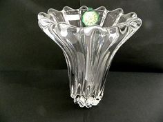 CRISTALLIN*VANNES LE CHATEL*THICK & HEAVY PLEATED GLASS VASE*FRANCE*GORGEOUS*