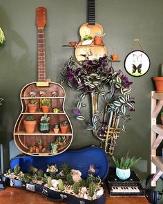 Home Accessories Idea--You can reach the web pages of the products by clicking the photos on the page. Guitar Crafts, Guitar Diy, Home Interior Accessories, Unique Home Accessories, Upcycled Crafts, Repurposed, Home Decor Wall Art, Diy Home Decor, Guitar Shelf