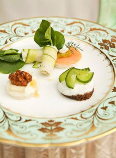Great Gatherings: Afternoon Tea Tea Sandwiches..cucumber wraps with cress, Smoked Salmon withWasabi caviar and chive, Cramy Basil chevre with cucmber and Brie with truffle honey and candies pecans.