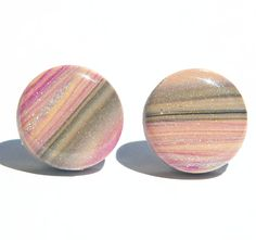 Striped Blush- Pink and gray Polymer Clay and Resin Stud Earrings for sensitive ears