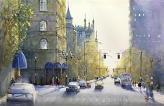 Original Art by Judy Mudd   watercolor painting   City Blues at UGallery