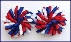 Dark Royal Blue Red White School Korker Hair Bows-school uniform, hair bows, bows, korker, curly, clips, bobbles, grosgrain ribbon, uk, scotland, korksnkurls