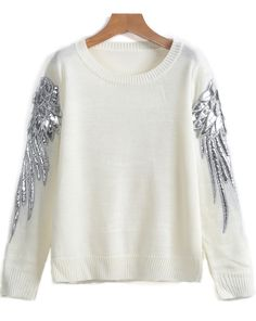 Shop White Round Neck Wing Print Loose Sweater online. Sheinside offers White Round Neck Wing Print Loose Sweater & more to fit your fashionable needs. Free Shipping Worldwide!