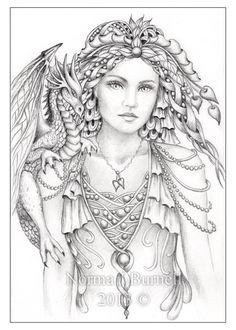 Norma Burnell Pictures to Color | Details about Original Pencil Drawing OSWOA Dragon Elf Fairy Goddess ...