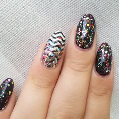 """#notd  Colors used: #sinfulcolorsgraped with one coat of #ulta #pinatayadayada dabbed on top. I recycled the chevron nail and put a #glittergradient on top."""