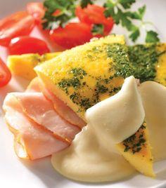 Omelette inflado de elote con jamón