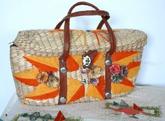 Vintage 1960's Woven Straw Midcentury Purse // Rockabilly Summer Picnic