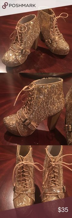 Stunning Gold Sequined Heeled Booties! NWT Gold Booties from Bucco Capensis . Zipper on inside with beautiful laces up the front! Gorgeous Buckle over the Toe and a complete Show Stopper Shoe! Approx 4 1/2 in heels! Bucco Capensis Shoes Heeled Boots