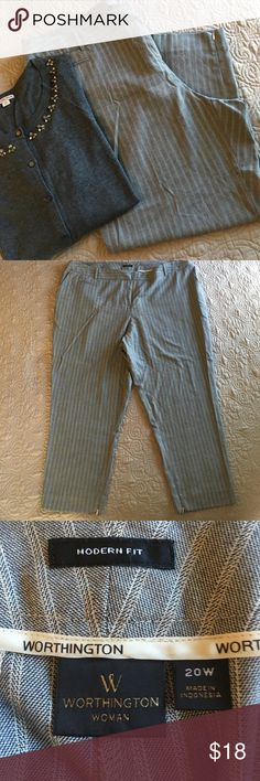 """Striped ankle pants EUC no rips or stains. Size 20w. Worthington brand. Gray with cream stripes. Zipper on inside of ankle. 26"""" inseam. Sweater for sale in my closet too. Worthington Pants Ankle & Cropped"""