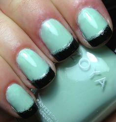 french tip teal nail - Google Search
