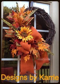 Fall Wreath with dried sunflower white pumpkins by DesignsbyKarrie