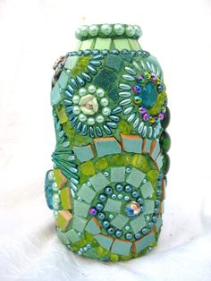 The Green Fairy Vase Mosaic with lots of Swirls and by waschbear, $90.00