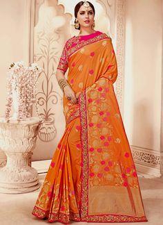 Floral Weaving Work Orange Designer Traditional Saree