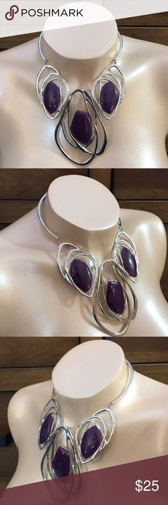"Necklace Set Silver tone metal necklace with chunky oval design and purple epoxy. 4""L drop. 3""L extender chain attached to necklace for ease of use. Matching fish hook pierced earrings. Fashion Jewelry Jewelry Necklaces"
