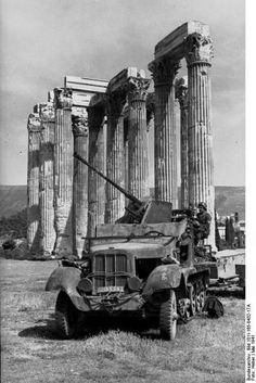 Germany invaded Greece on April This is a May 1941 military archival photo of a halftrack (probably a SdKfz with an anti-aircraft gun parked incongruously amidst the grandeur of ancient ruins at the Temple of Zeus in Athens, Greek History, World History, World War Ii, Military Photos, Military History, Ww2 Photos, Ancient Ruins, German Army, War Machine