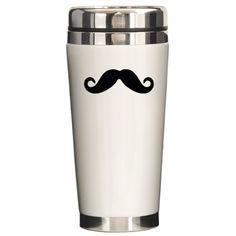 Mustache: Ceramic Travel Mug #mustache