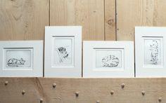 4 original cat etchings set. $89.50, via Etsy. atelier28