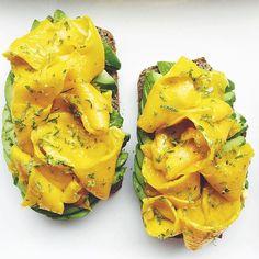 ... + baking powder + sea salt) + sliced avocado + mango + lime zest