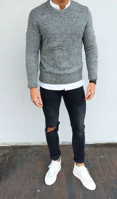 Very modern casual style for men with white sneakers, black jeans and . Very modern casual style for men with white sneakers, black jeans and gray pullover. Perfect outfit for the fall and winter. Mode Masculine, Mode Outfits, Urban Outfits, Fashion Outfits, Fashion Shirts, 2018 Men Outfits, Hipster Outfits, Dress Fashion, Stylish Outfits