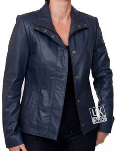 Ladies Navy Blue Leather Jacket - Sapphire - Open