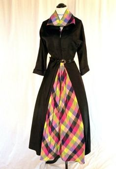 Fun 1940s black and colorful plaid dress
