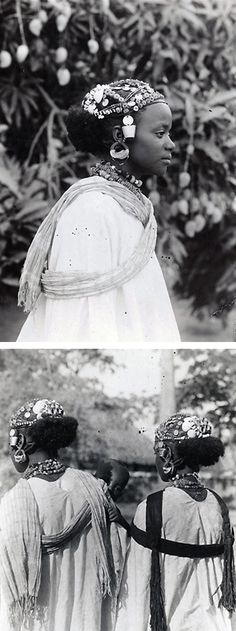 Africa | Fulani (Peulh) woman's elaborate coiffure.  Bobo-Dioulasso, Haute-Volta | Photographer unknown.  ca 1930 /1960.