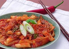 Duk Pok Ki - Korean Spicy Rice Cakes - this is the one I made, with the little fishies
