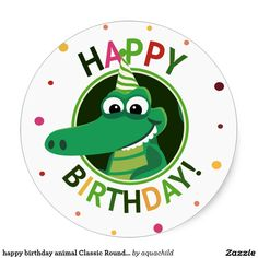 Invitation card to a birthday celebration for children with a smiling cartoon crocodile wearing a party hat inside a circle festive ornament. Under Commons Attribution License. Happy Birthday Animals, Happy Birthday Images, Animal Birthday, Birthday Pictures, Happy Birthday Wishes, Birthday Greetings, Birthday Celebration, Free Birthday Card, Birthday Card Template