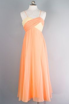 c1074159dda7 1970s Mike Benet Sherbet Orange and Yellow Formal Spring Cleaning, Formal  Gowns, 1970s,