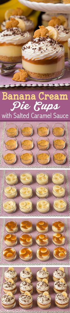 use Annie's bunny crackers! of course! Or carrot cake! Banana Cream Pie Cups with Salted Caramel Sauce - these are seriously DREAMY! Love all these layers! Mini Desserts, Easy Desserts, Delicious Desserts, Dessert Recipes, Yummy Food, Dessert Cups, Cupcakes, Cupcake Cakes, Salted Caramel Sauce