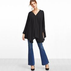 Black V Neck Asymmetric Hem Blouse  $24.00 Free Worldwide Shipping www.ShopDulceVida.com . #WorkWear #Dress #Outfit #simpleoutfits #casual #skirt #blouse #romper #jumpsuit #fashion #style #trends #pretty #limited #summer