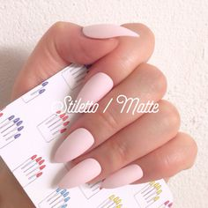 Stiletto 12pcs Matte Baby Pink Hand Painted Nail Tips / by 31313