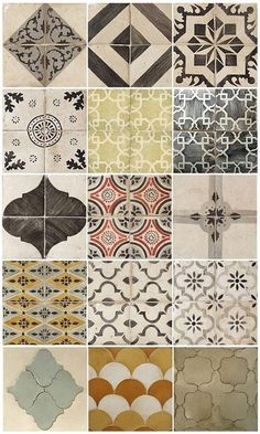 Tiles..This is inspiring! A collage of frames with like patterned artwork inside-possibly using stencils or tiles. Food for thought