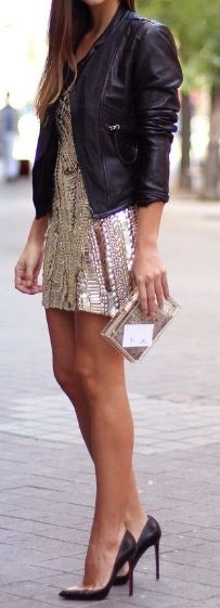 Sequin dress + leather jacket