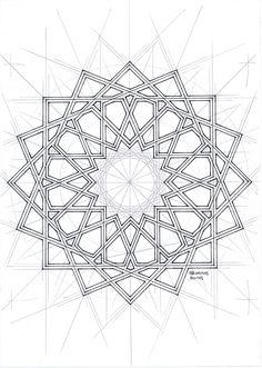 Bou065 #islamicdesign #islamicpattern #arabianart #geometry #symmetry #watercolor #mathart #regolo54 #escher #circle #disk