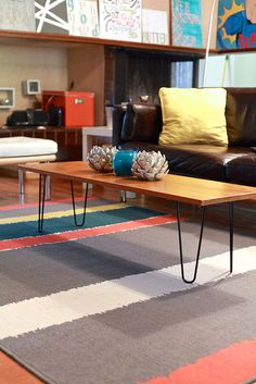 DIY hairpin leg coffee table. By The Noshery