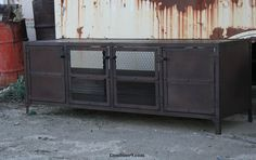 Media Console, Credenza, Buffet, Industrial, Mid Century Modern, Reclaimed Wood, Hutch via Etsy l I ordered this and love love it. He does great work!  Could do something like this for island - use metal baskets et concrete top...